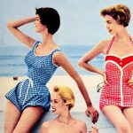 Women in vintage swimsuits from the 1950s