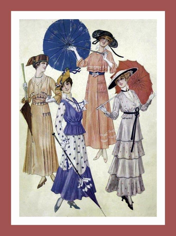 Women with antique parasols (2)