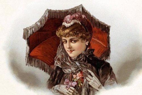 Women with antique parasols (3)