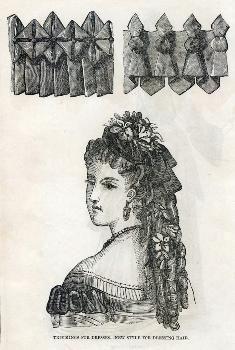 Women's antique hairstyles from 1872 (2)