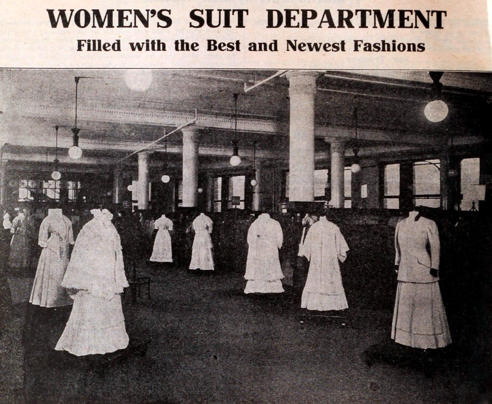Women's suit department at the vintage Macy's store in NYC (1900s)