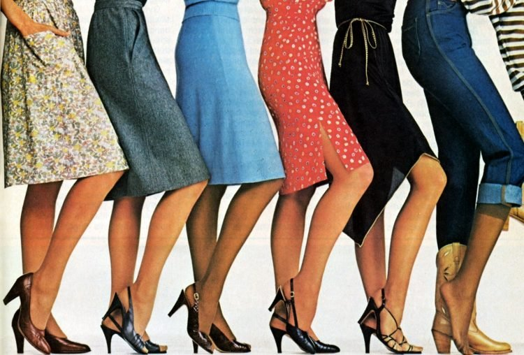 Women's vintage high heeled shoes - pumps from the eighties