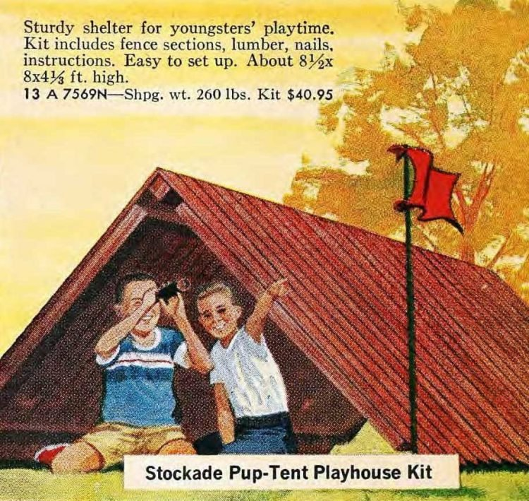 Wood stockade-style pup tent playhouse from the 60s