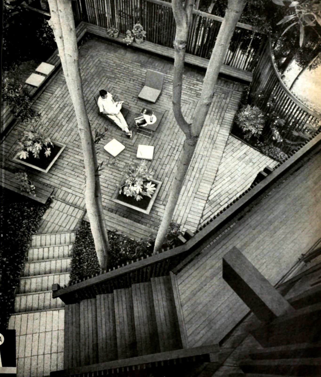 Wooden deck and staircase make a peaceful and private backyard in 1966