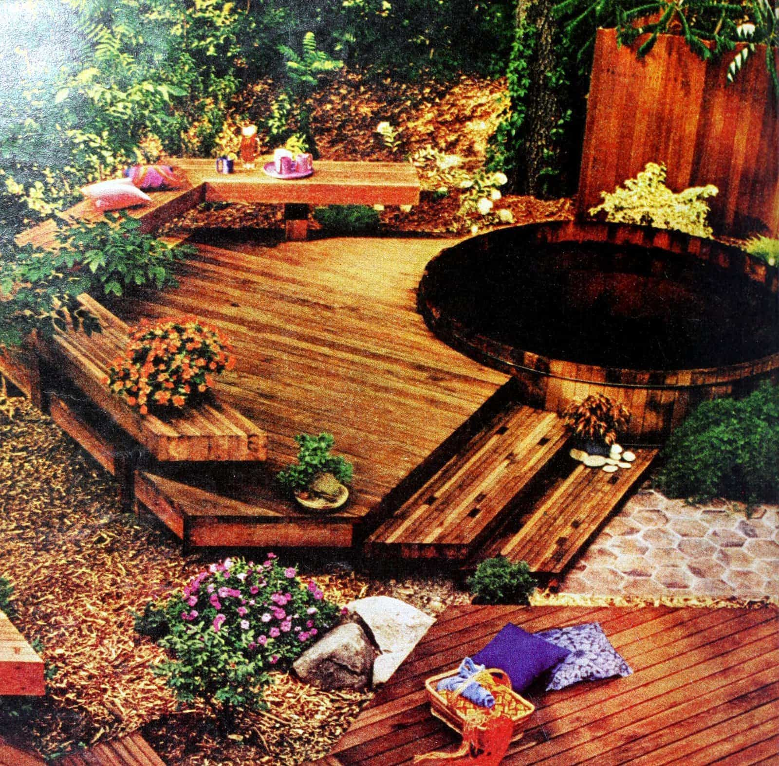 Vintage wooden deck with built-in backyard seating area