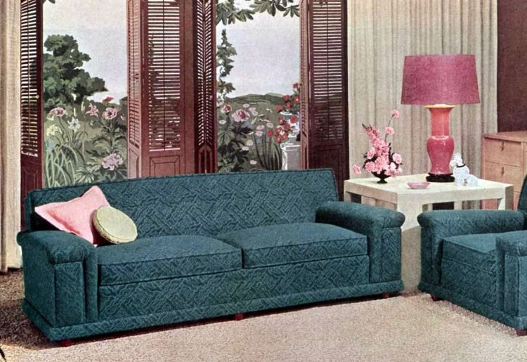 Wooden shutters in a living room from 1953