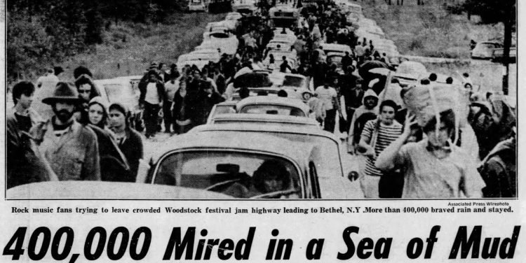 Woodstock - August 17 1969 - 400000 mired in a sea of mud