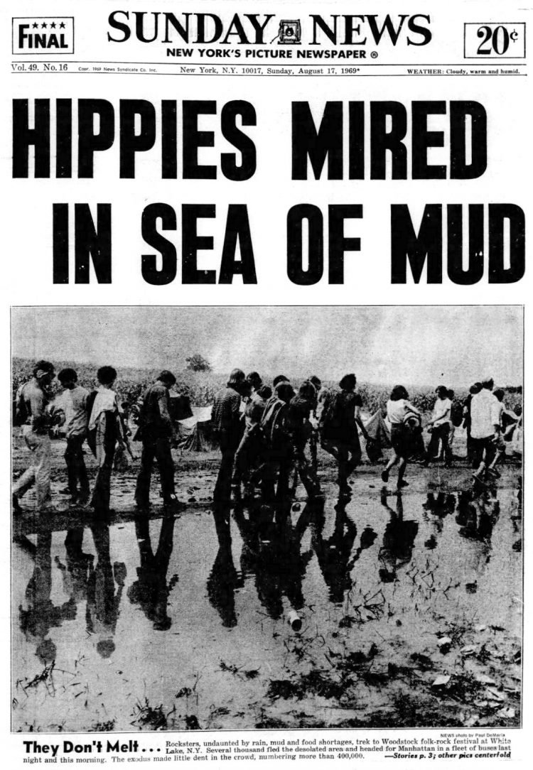 Woodstock - August 17 1969 - 400000 mired in a sea of mud - Daily News newspaper