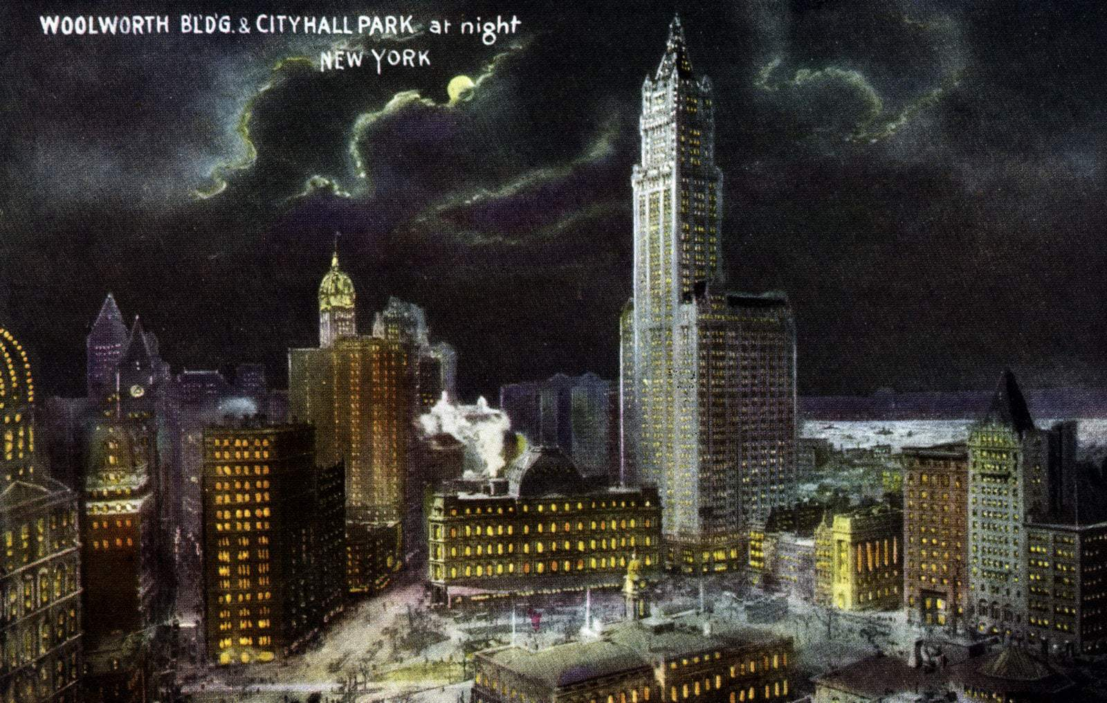 Woolworth Bldg. and City Hall Park at night NYC (1911)
