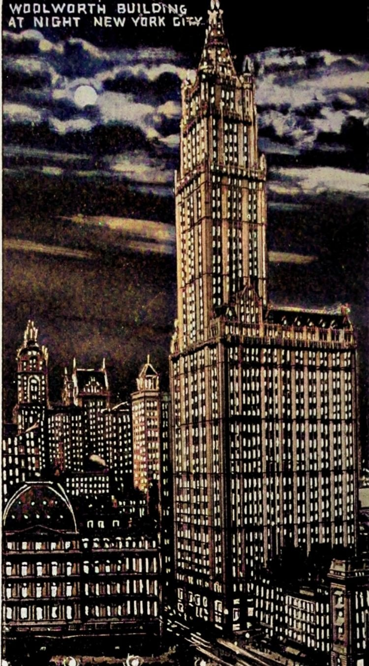 Woolworth Building at night - NYC - Colorized (1920s)