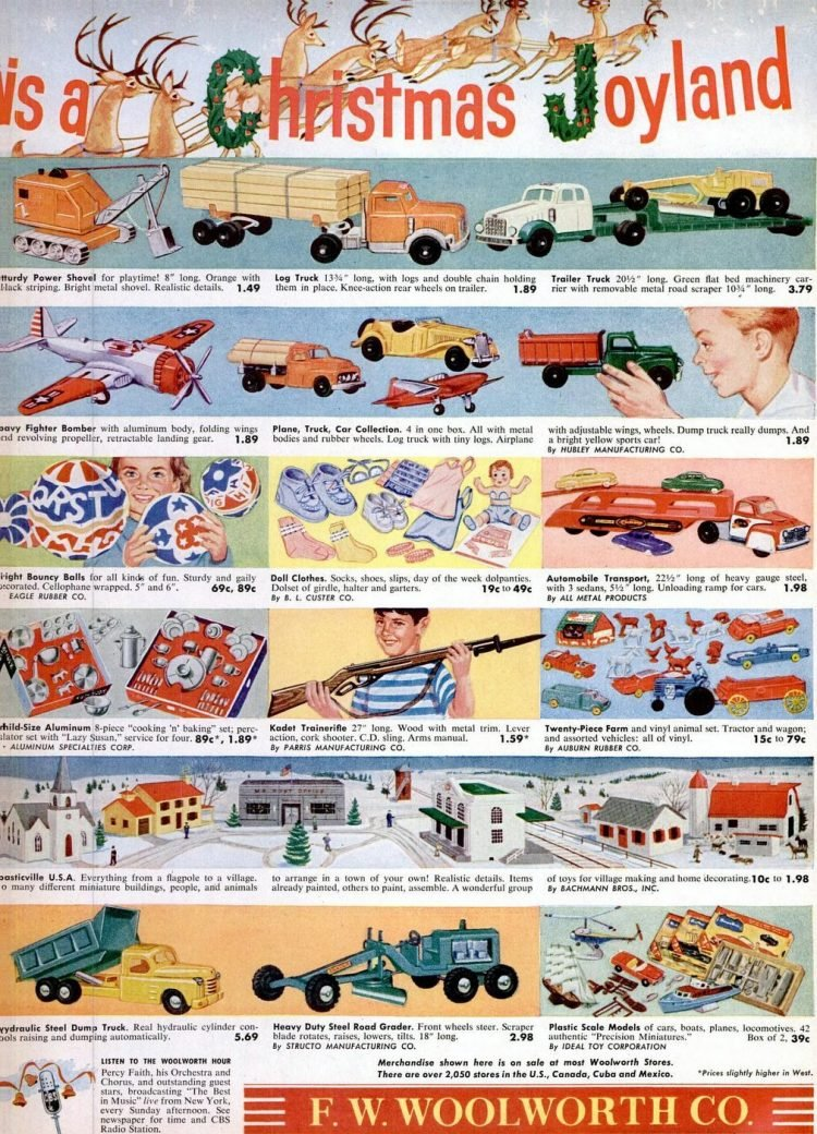Woolworth Christmas gifts from 1956