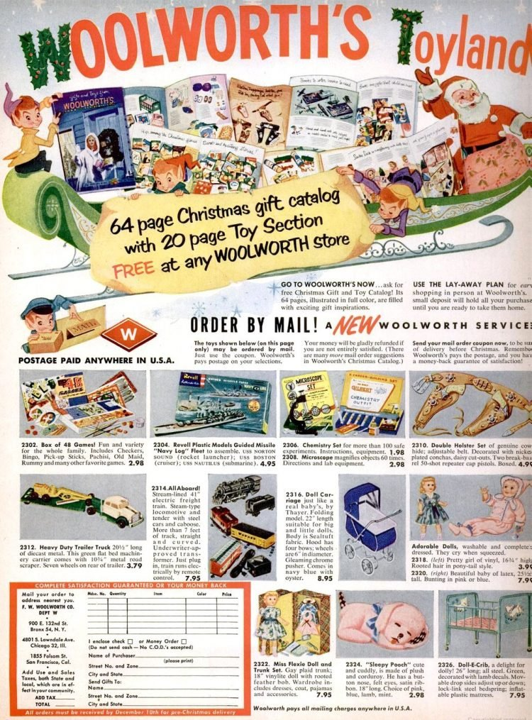 Woolworth vintage Christmas gifts from 1956