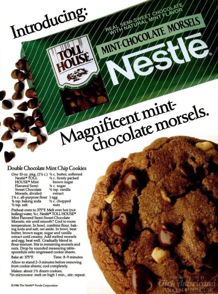 Double chocolate mint cookies recipe (1986)