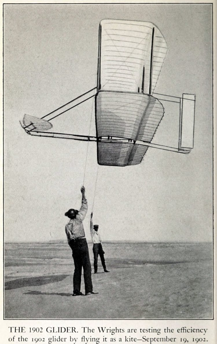 Wright Brothers 1902 glider as a kite