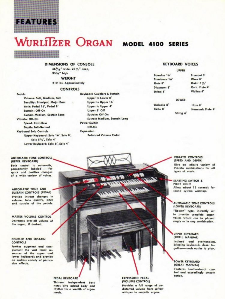 Wurlitzer organ Model 4100 series manual