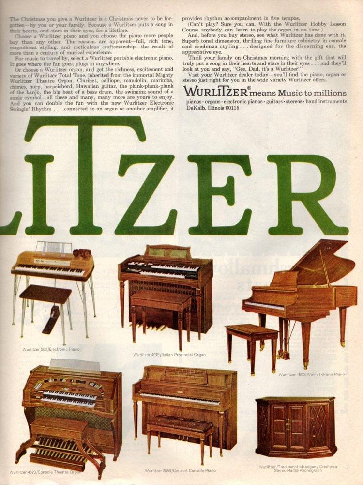 Wurlitzer piano, organ stereos from 1968 (3)