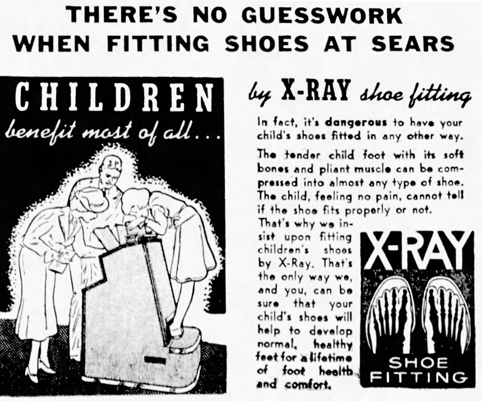 X-rays - There's no guesswork when fitting shoes at Sears (1943)