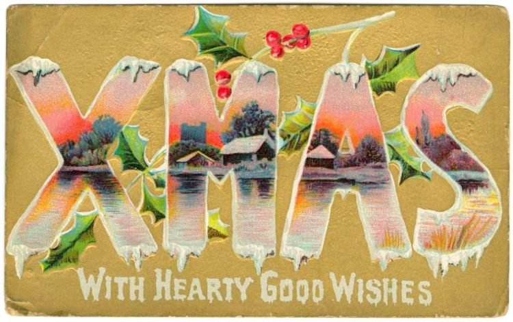 Xmas with hearty good wishes - Snowy scene on a card from 1910