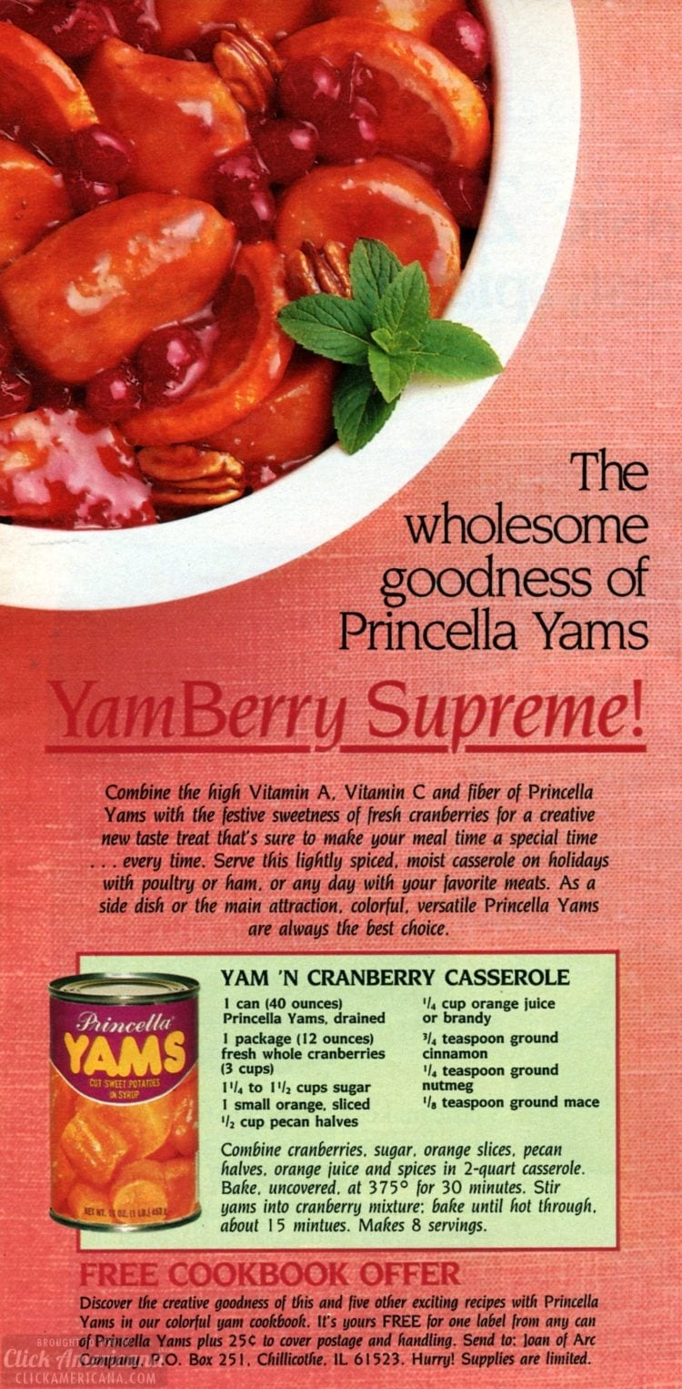 Yam and cranberry casserole (1985)