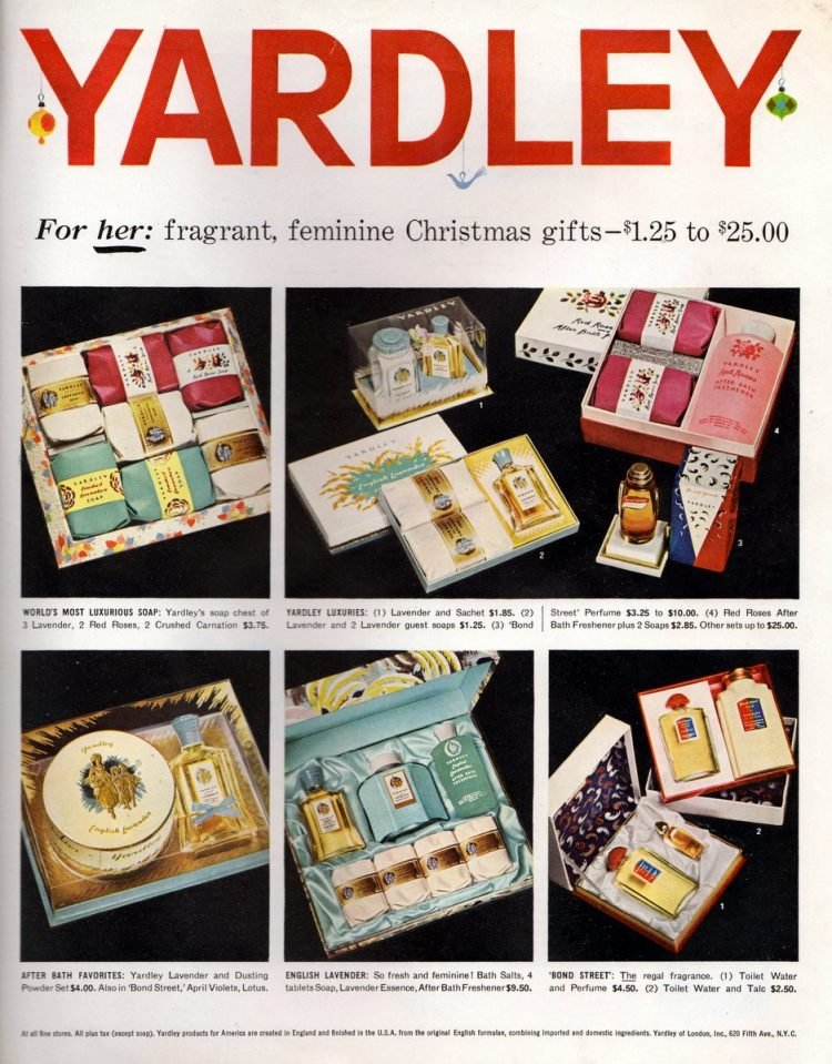 Yardley Christmas fragrance gift sets from 1956