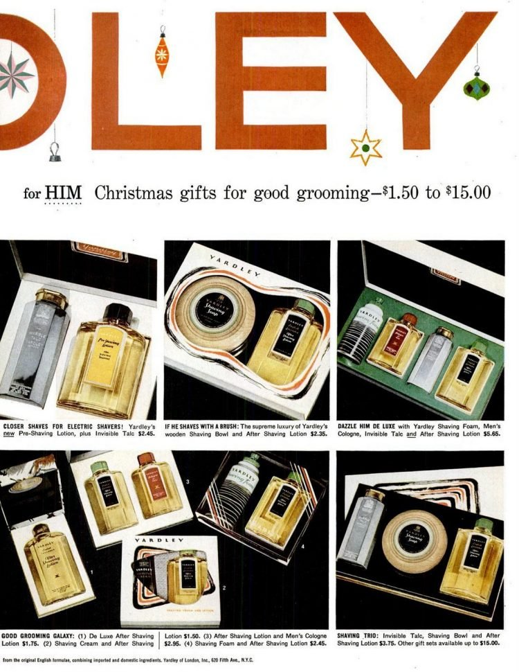 Yardley gift sets from 1956