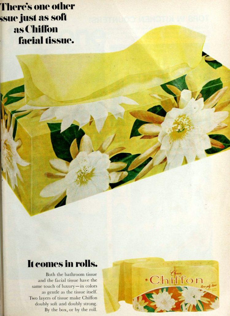 Yellow Chiffon brand facial tissues and toilet tissue from 1967