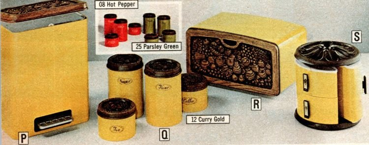 Yellow and black vintage kitchen accessories from the 70s