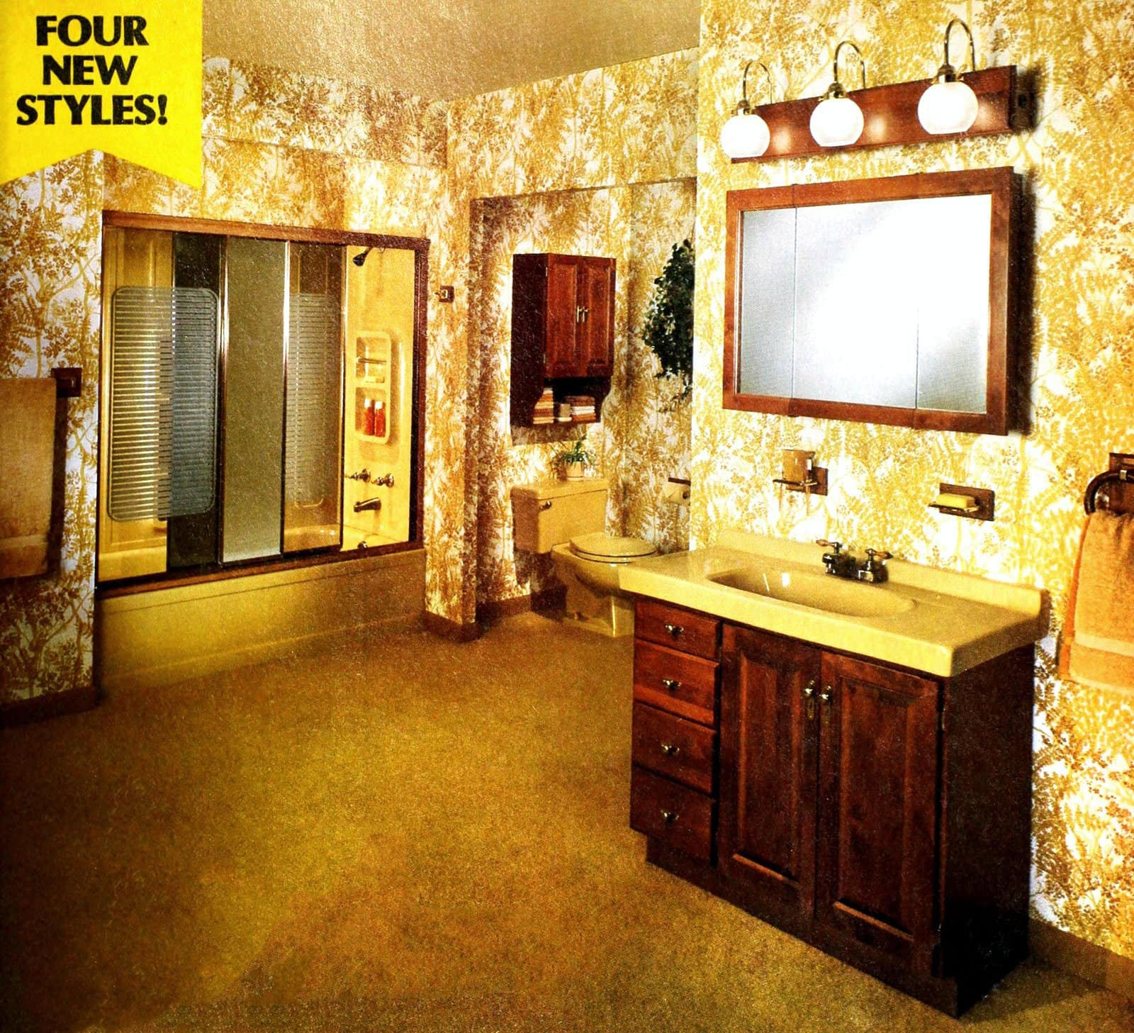 Golden yellow bathroom decor from 1981