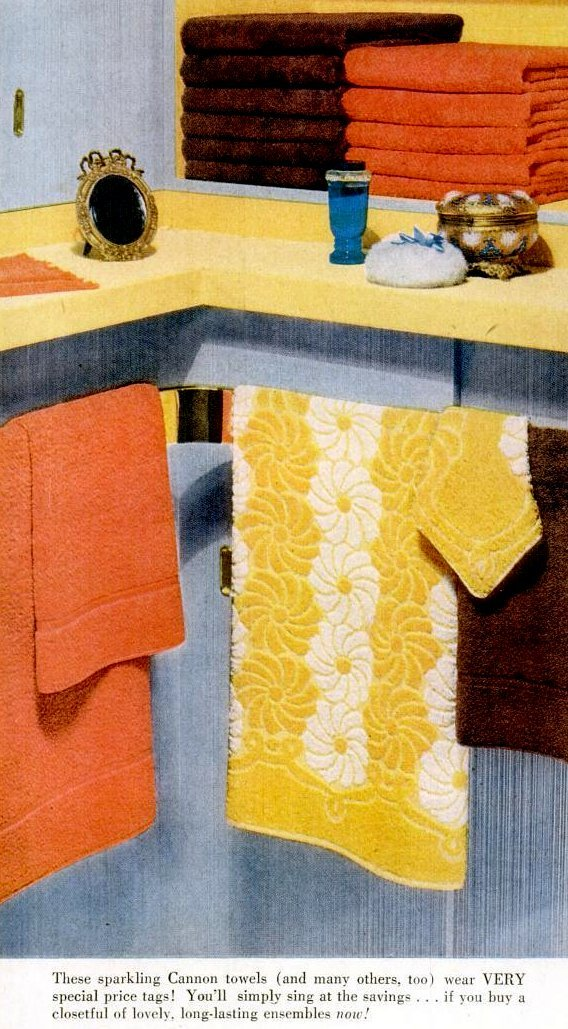 Yellow flowered towels, brown and orange bath towels