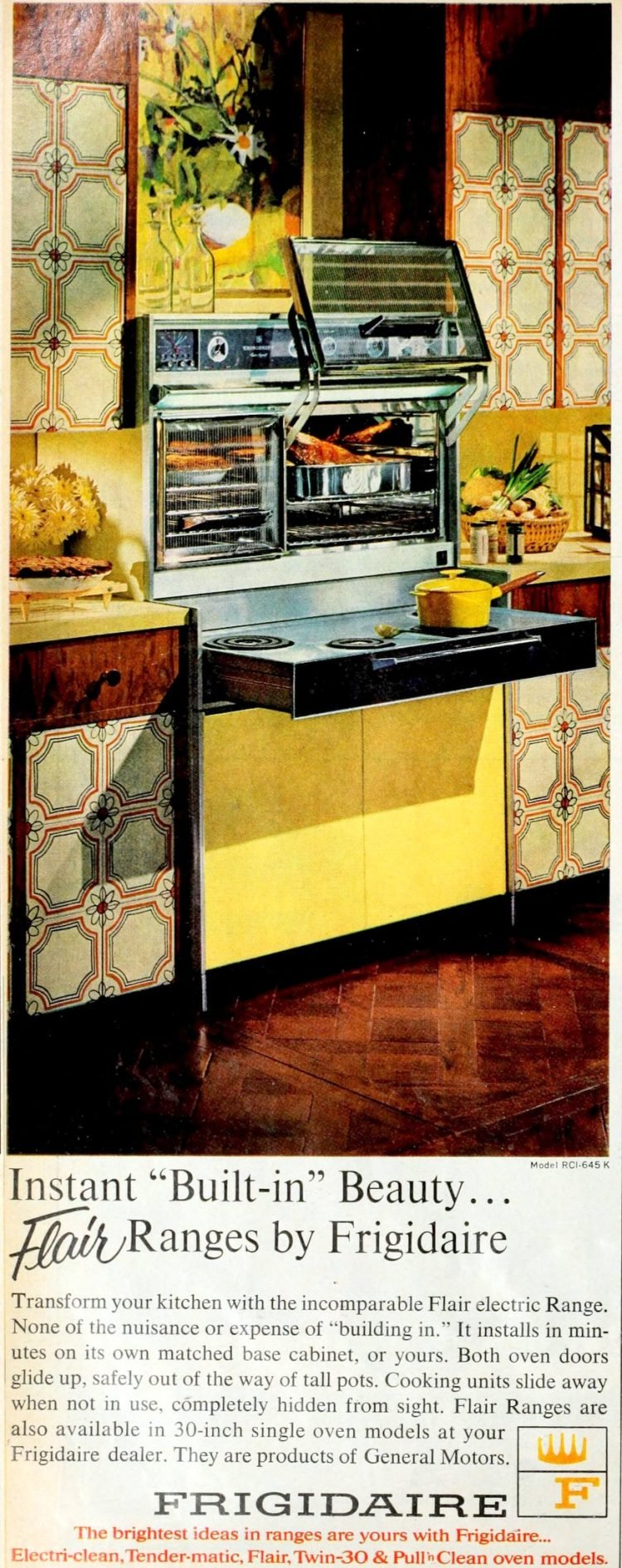 Yellow kitchen with built-in Flair range and ovens from the late 1960s
