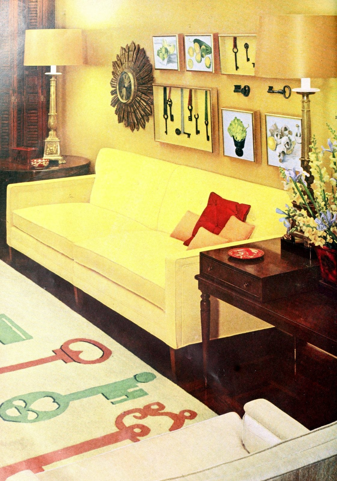 Yellow retro sixties living room home decor