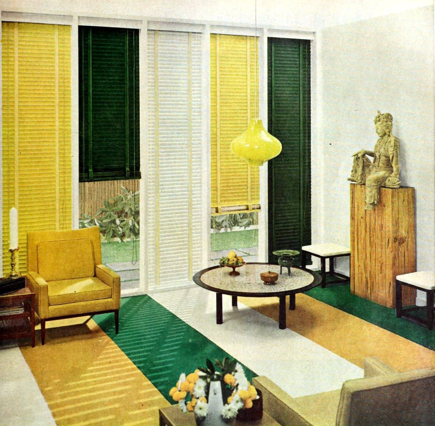 Yellow window blinds and furniture from the 1950s