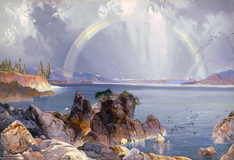 Yellowstone Lake - Antique painting