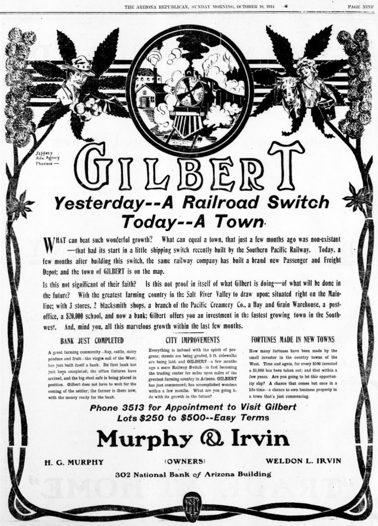 Yesterday, a railroad switch - Today, a town (October 18, 1914)