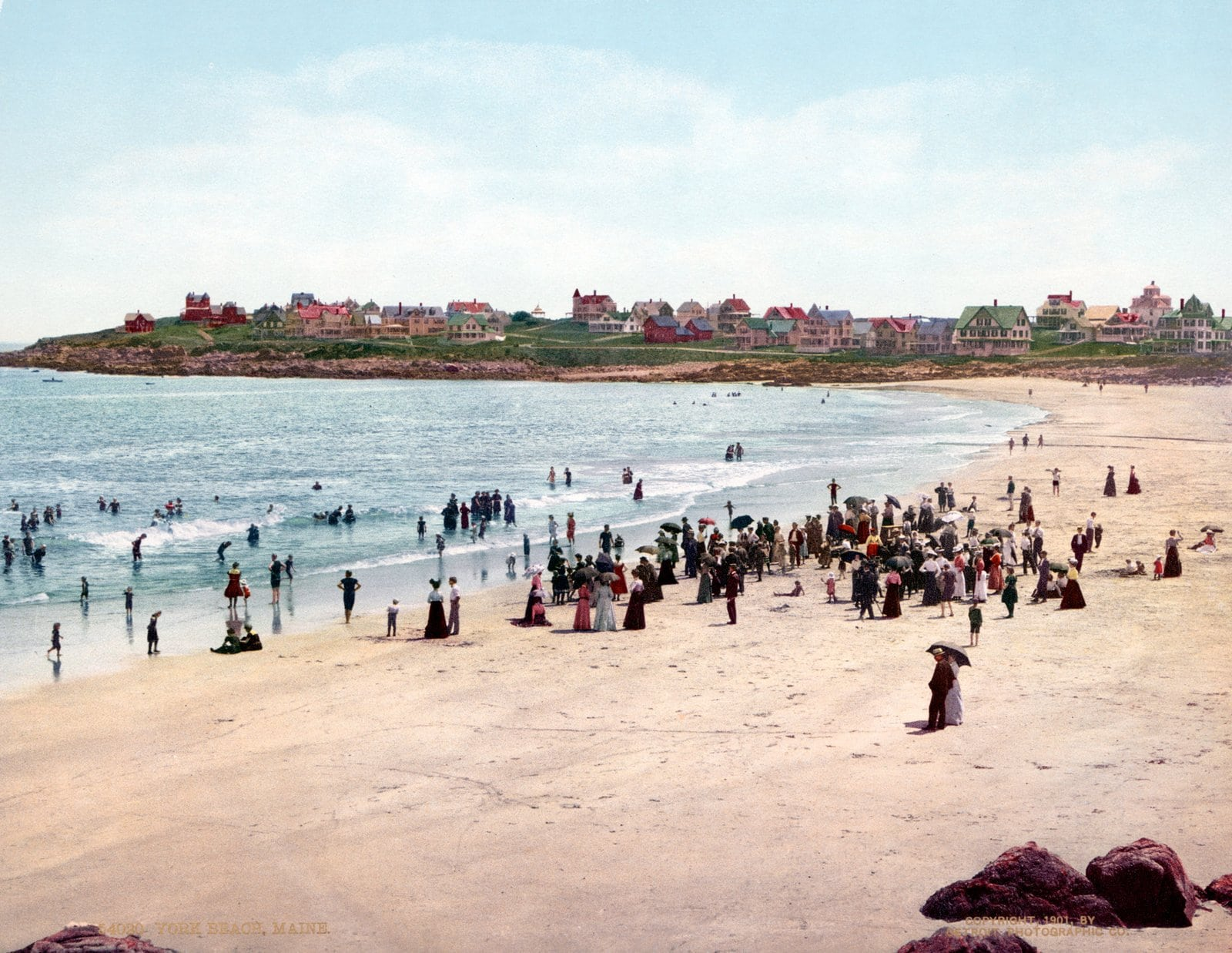 York Beach, Maine - Vintage hand colorization (c1901)