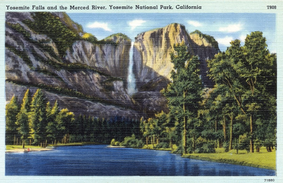 Yosemite Falls and Merced River - Vintage postcard from 1930s-1940s