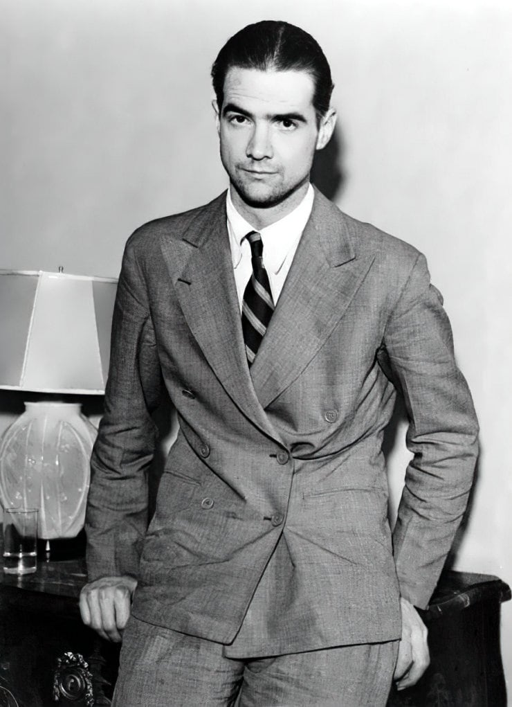 Young Howard Hughes in a suit