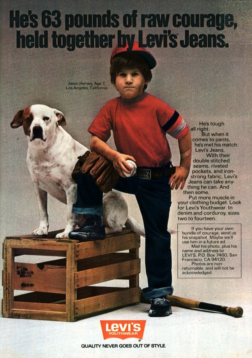 Young actor Jason Hervey for Levi's jeans for kids - 1979
