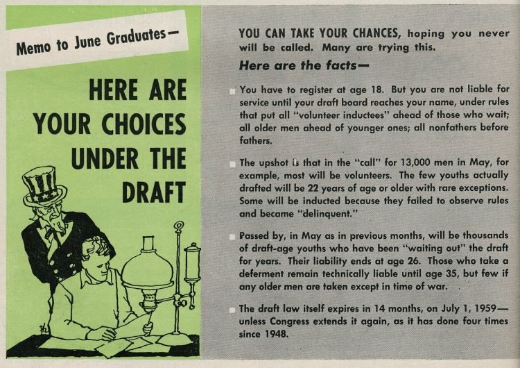 Your choices under the draft 1958