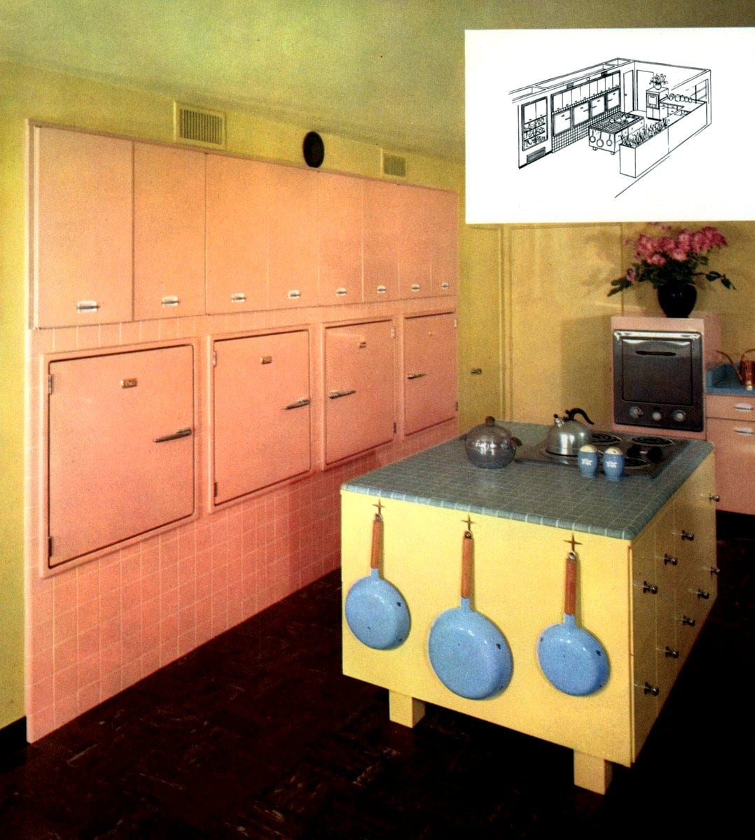 Your kitchen and you St. Charles Kitchens 1957 yellow pink