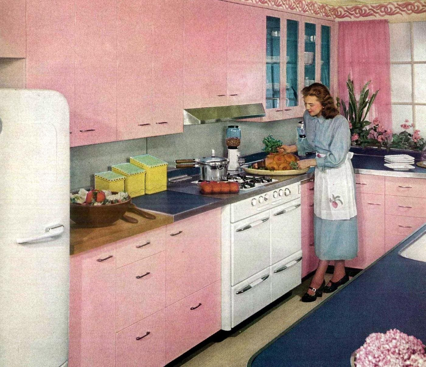 Your kitchen and you St. Charles Kitchens pink 1950