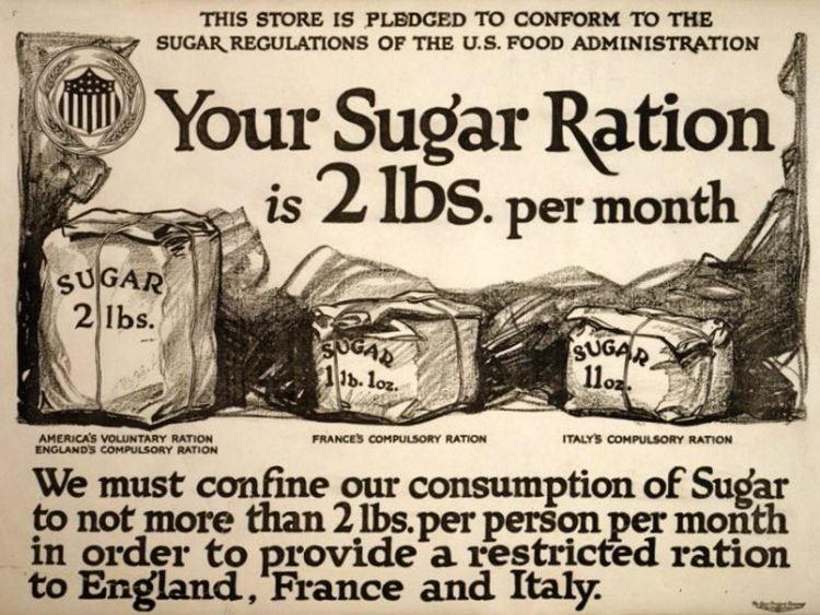 Your sugar ration is 2 lbs. per month (1917)