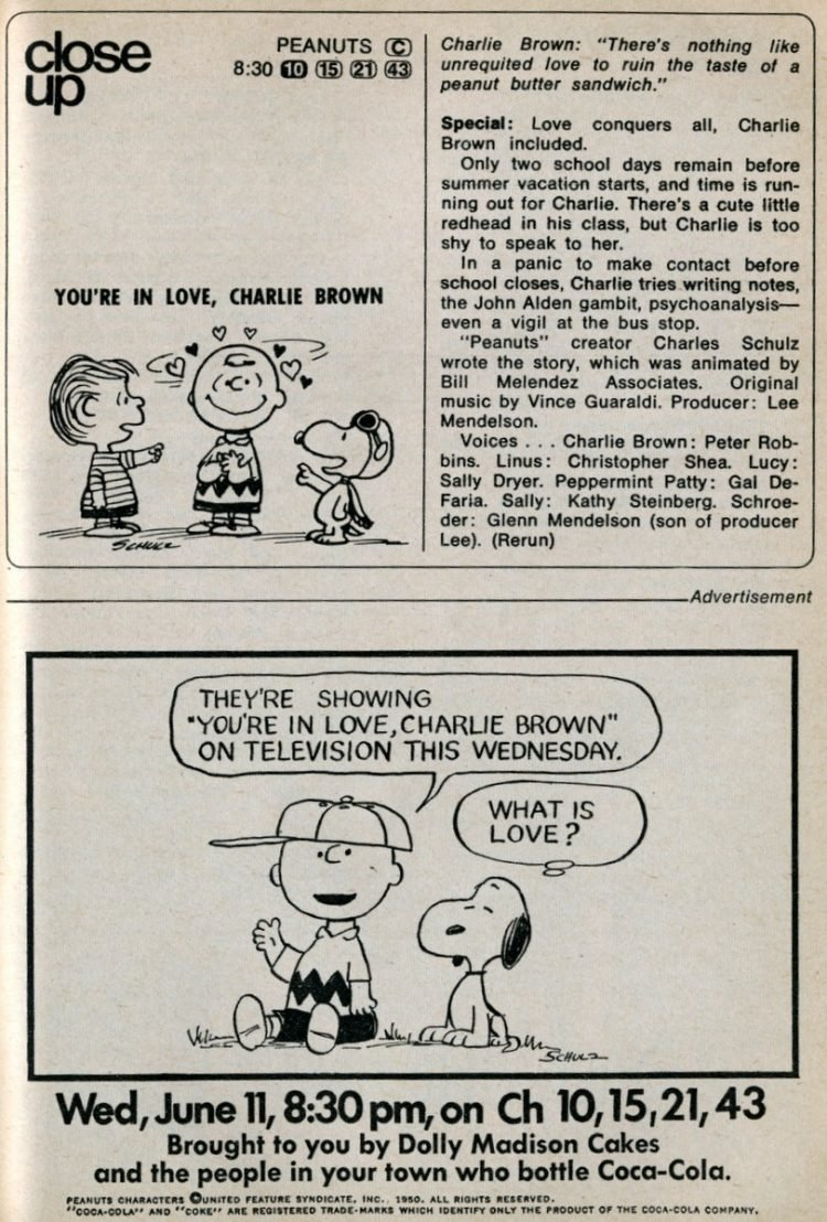 You're in Love, Charlie Brown The Peanuts Valentine's Day TV special (1969)