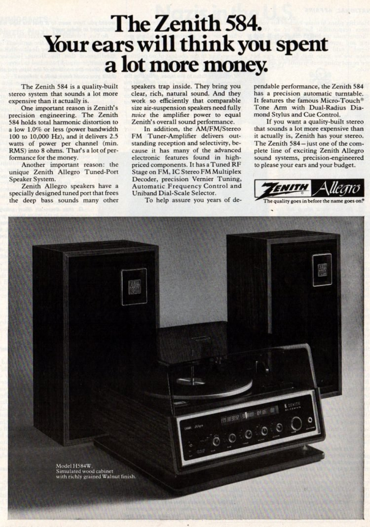 Zenith stereo system from 1976