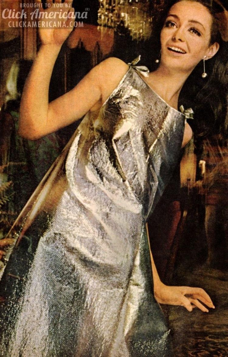 Shimmering, glimmering disposable foil dress (1967)