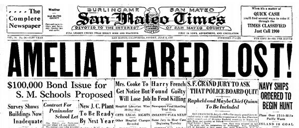 Amelia Earhart feared lost (1937)