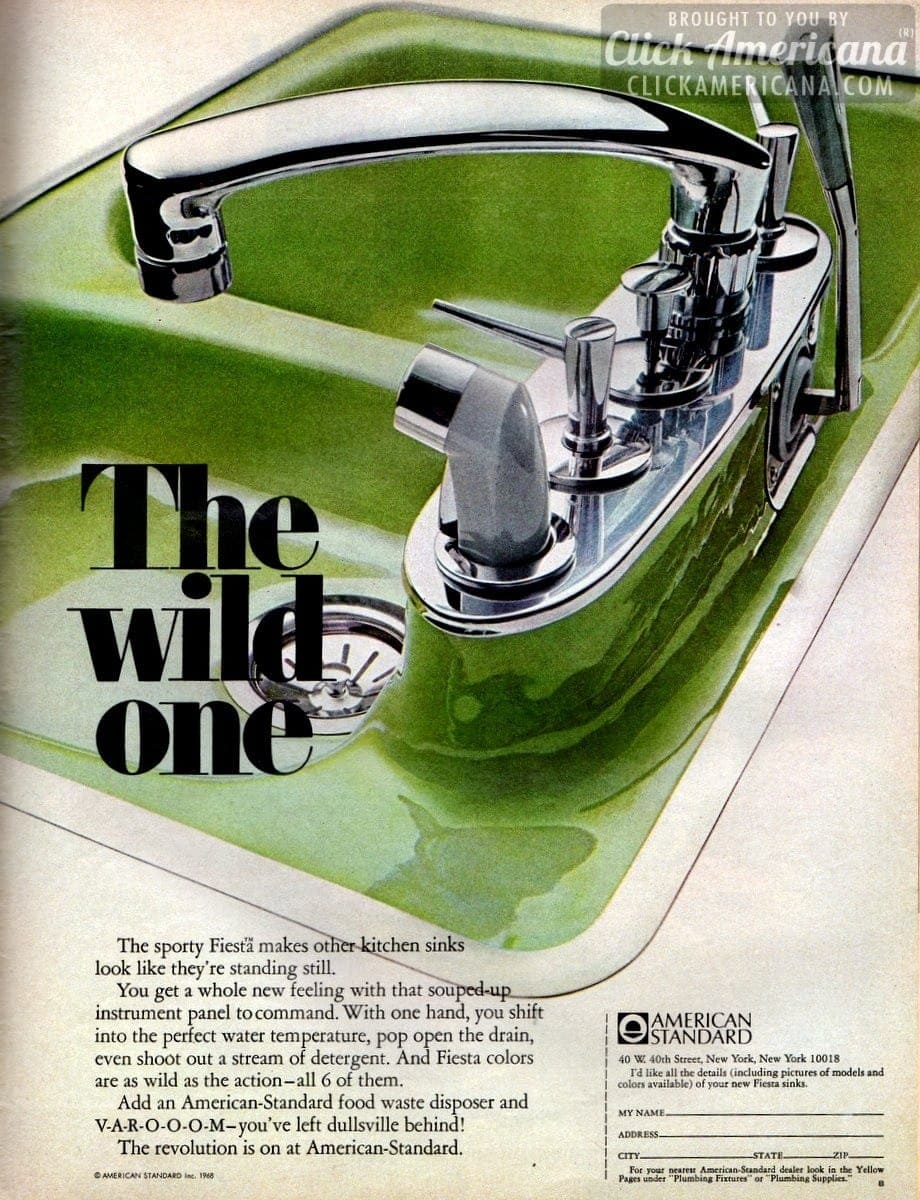 Bold & brightly-colored kitchen sinks (1966 & 1968)