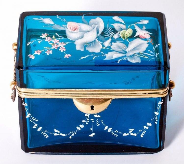 Antique blue glass sugar casket