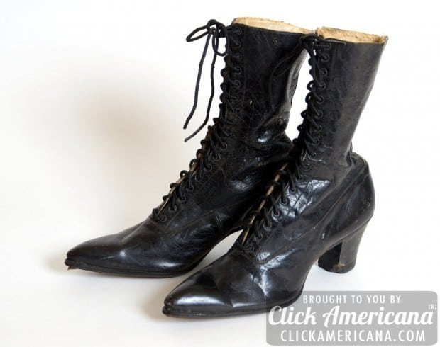 Up close: Antique leather lace-up boots from the Edwardian Era