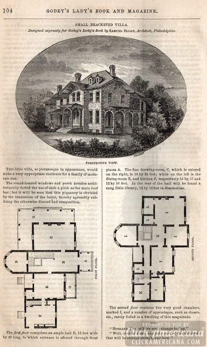 Classic home design small bracketed villa 1862 click for 19th century floor plans